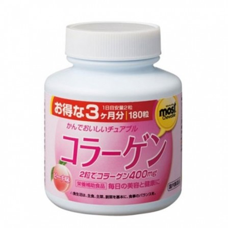 Buy Orihiro collagen chewable tablets with peach flavor 1g N180