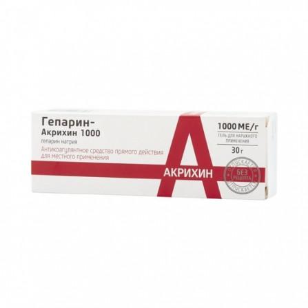 Buy Heparin Akrikhin 1000 gel for external. 30g