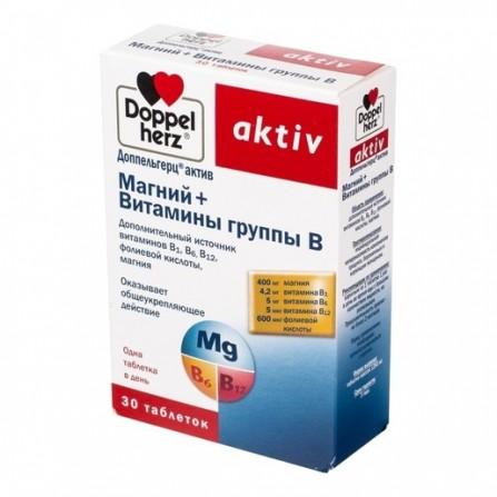 Buy Vitamins Doppelgerts Active Magnesium + Vitamins of group B tablets N30